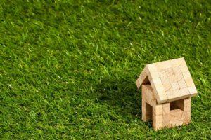 בית קטן מעץ על דשא